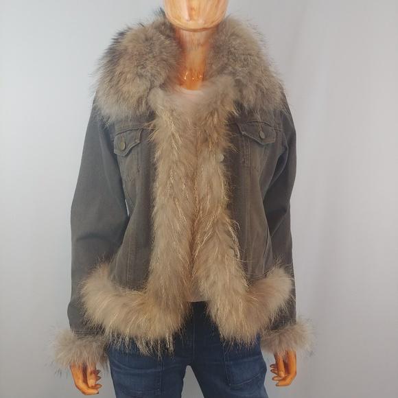 Black Coyote Fur Coat Neiman Marcus >> Neiman Marcus Real Fur Embellished Denim Jacket